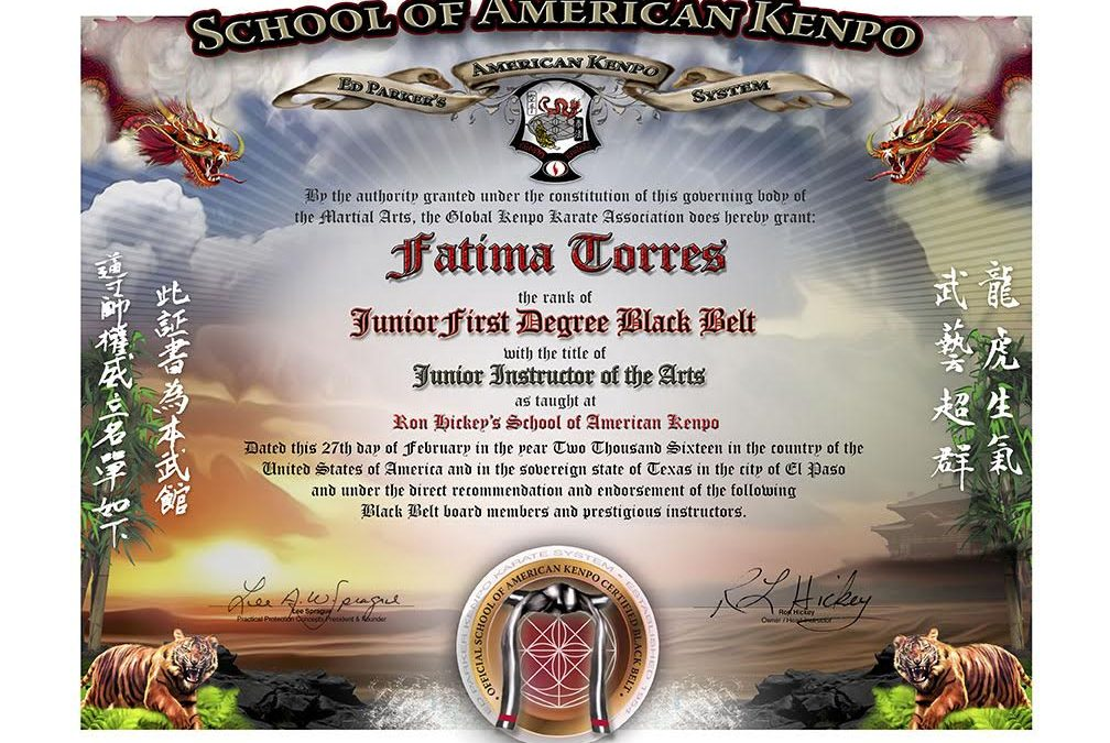 School of American Kenpo – Junior Black Belt Certificate