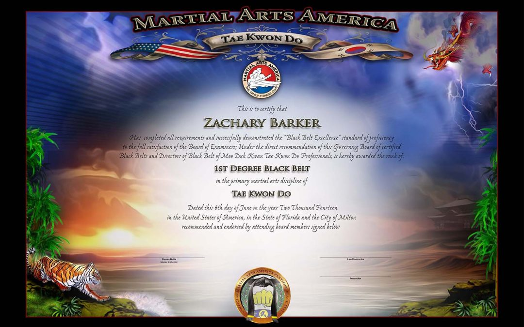 Martial Arts America – Black Belt Certificate