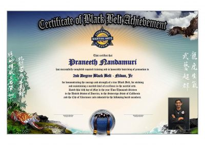 Livermore Martial Arts – Black Belt Certificate w/Student Image