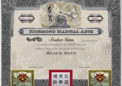Richmond Martial Arts – Jr. Black Belt Certificate