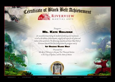 Riverview Martial Arts – Black Belt Certificate