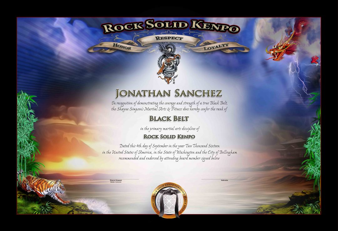 Rock Sold Kenpo – Black Belt Certificate