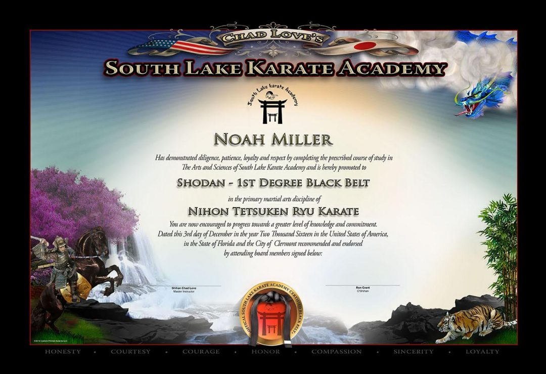 South Lake Karate Academy Black Belt Certificate