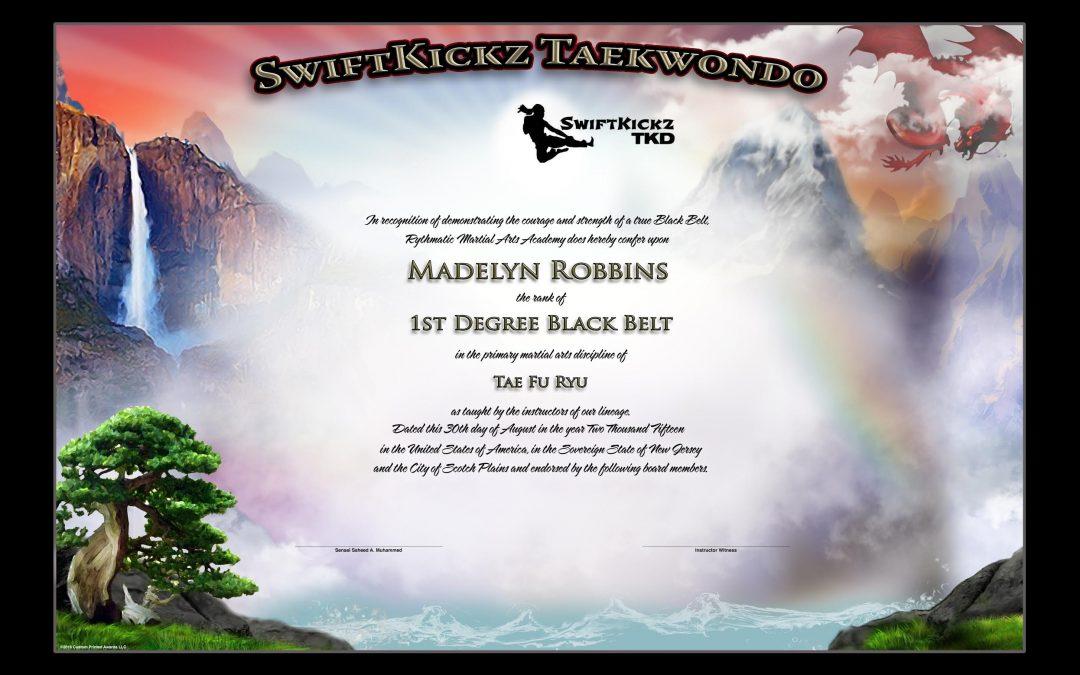 Swift Kickz – Black Belt Certificate