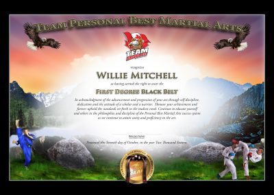 Personal Best Martial Arts – Black Belt Certificate