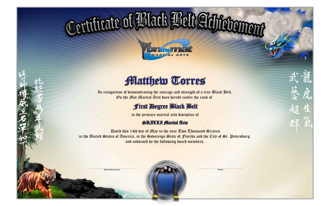 SKILLZ – On The Mat Black Belt Certificate