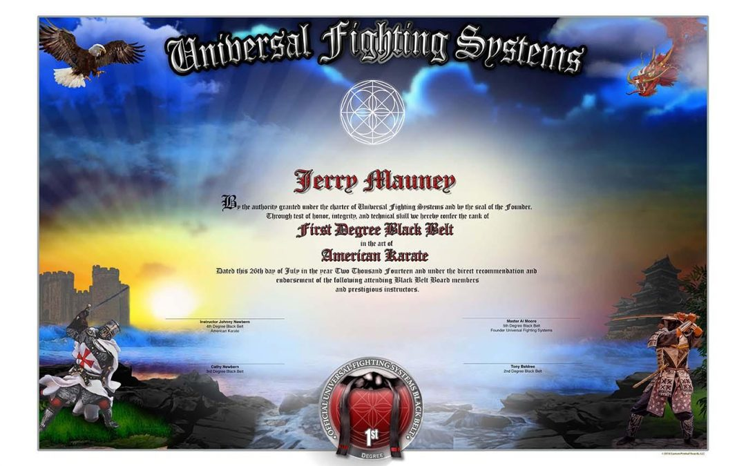 Universal Fighting Systems – Black Belt Certificate