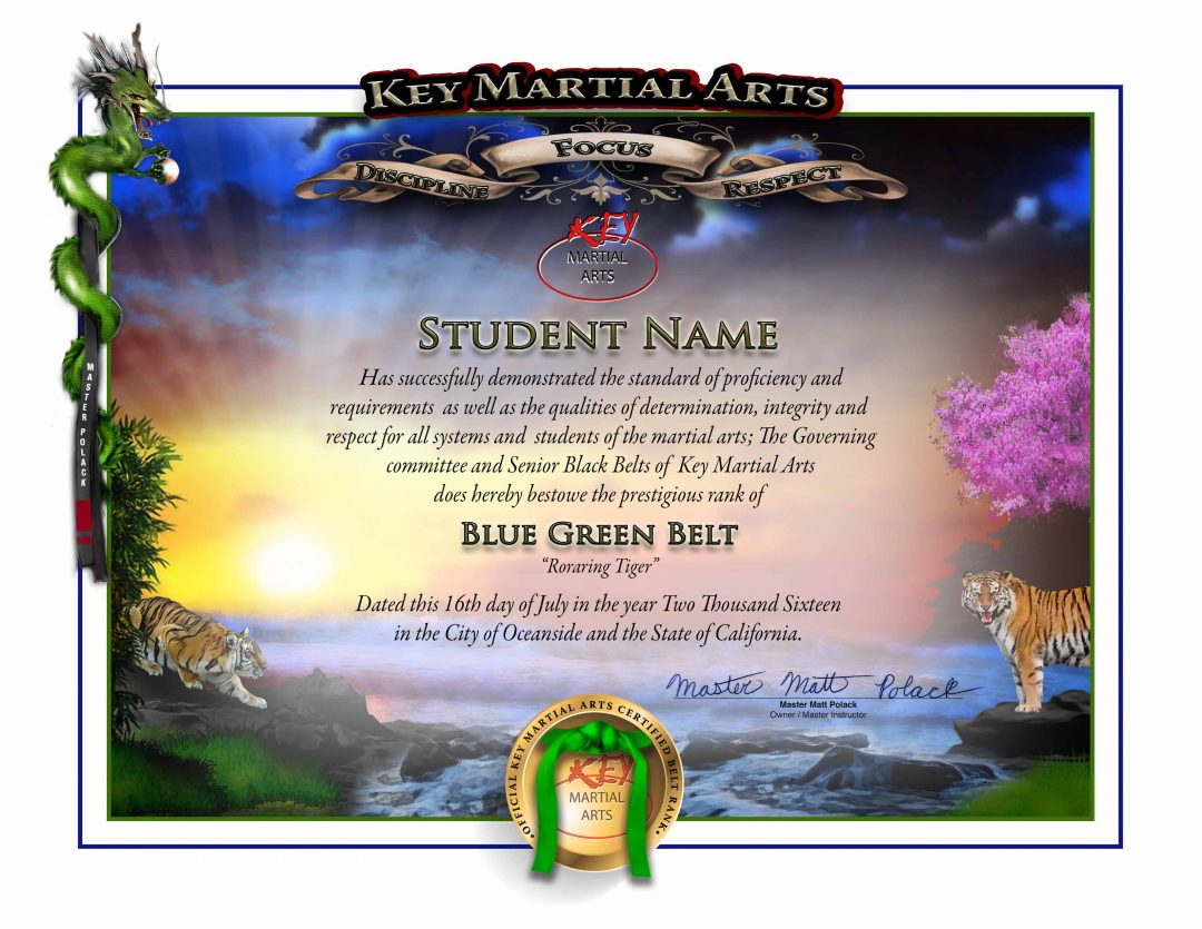 Key Martial Arts – Junior Lower Rank – Blue/Green Belt