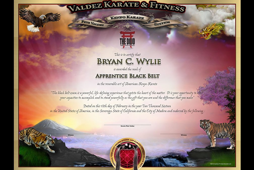 The Dojo Valdez – Jr. Black Belt Certificate
