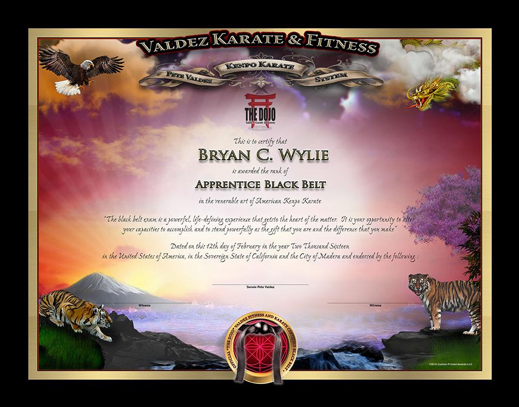 The Dojo Valdez – Jr. Black Belt Certificate