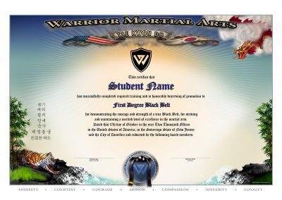 Warrior Martial Arts – Black Belt Certificate