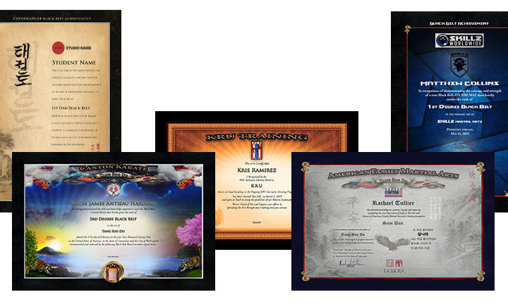 Collage of 5 template samples of Martial Art Certificates